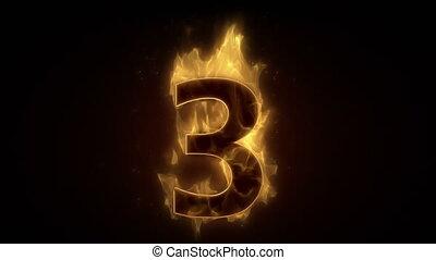 Fiery number three burning in loop