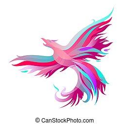 Fiery phoenix in bright colors