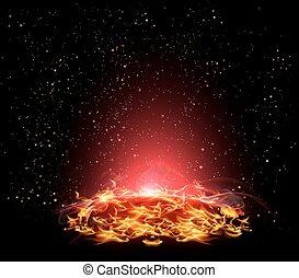 fiery planet in space