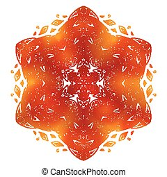 Fiery red and orange doodle style feathers abstract mandala