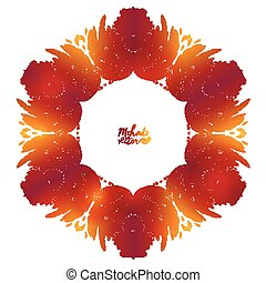 Fiery red and orange doodle style feathers floral vector frame