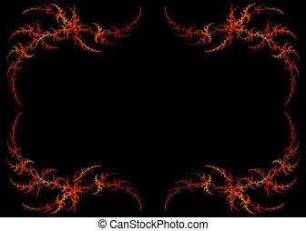 Fiery Red and Orange Fractal Frame