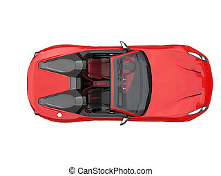 Fiery red fast race car - top down view