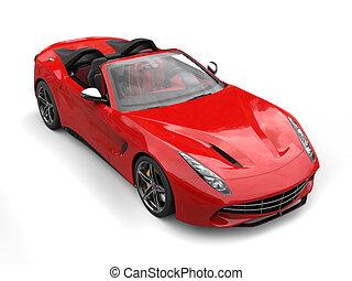 Fiery red fast race car - top view studio shot