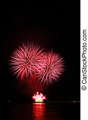 fiery red fireworks