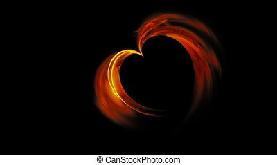 Fiery Red Heart - Abstract blazing red heart made of flames...