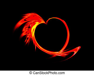 fiery red heart on black background