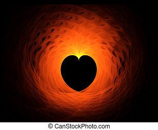 fiery red heart on black background
