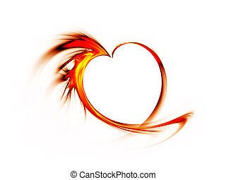 fiery red heart on white background