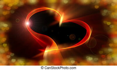 Fiery red ribbon heart with vivid colorful bokeh lights, the concept of love