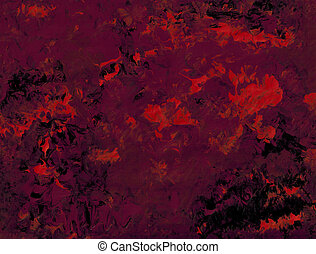 Fiery Red - Acrylic in red and purple on black