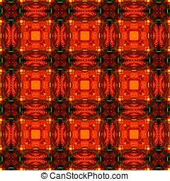 Fiery Red Tile Pattern - A seamless pattern of complex and...