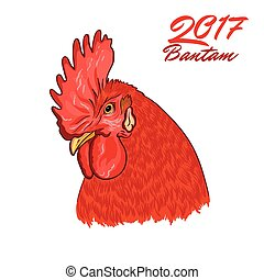 Fiery Rooster. Symbol of the coming year. Cock head.