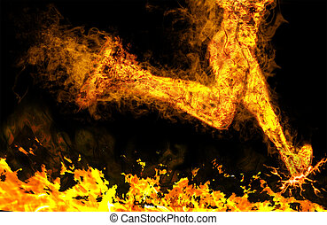 Fiery running man on a black background - Fiery running man...