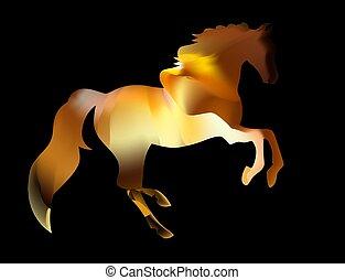 Fiery silhouette of an Arab stallion. red horse runs on fire