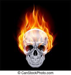 Fiery skull. - Illustration of chrome fire skull on black...