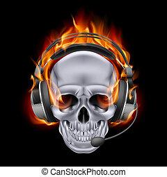 Illustration of chrome fiery skull in headphones on black background.