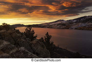 Fiery Sky at Horsetooth Reservoir - Clouds bursting with ...