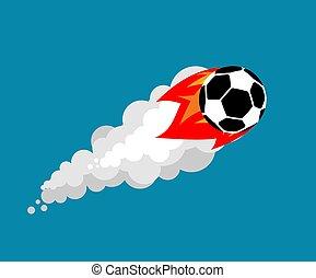 Fiery soccer ball isolated. Flying football ball vector illustration