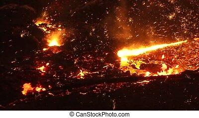 Fiery sparks of molten metal