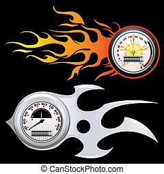 Fiery Speedometer - illustration of speedometer with flame...