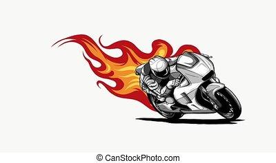 Fiery Sports Motorbike Racer Variation