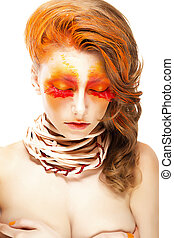Fiery Stylized Woman with Closed Eyes. Red False Lashes. Creative Make up