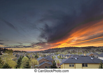 Fiery Sunset Over Happy Valley Oregon - Fiery Sunset Over...