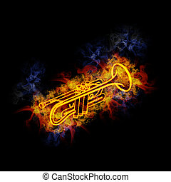 Trumpet, covered in flames.