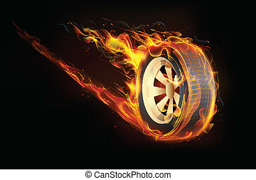 Fiery Tyre - illustration of fire flame in tyre showing...