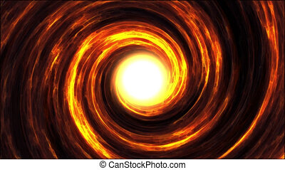 Fiery vortex, gas and matter pulled by strong gravity swirl...