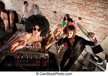 fiesta, 1970s, música, disco