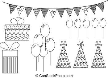 fiesta, artículos, dibujo lineal