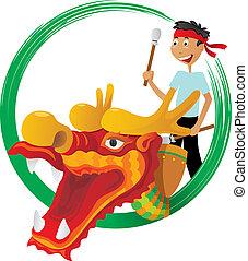fiesta, barco, ilustración, dragón