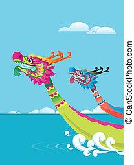 fiesta, barco, plano de fondo, dragón