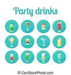 fiesta, bebidas, en, círculo, iconos