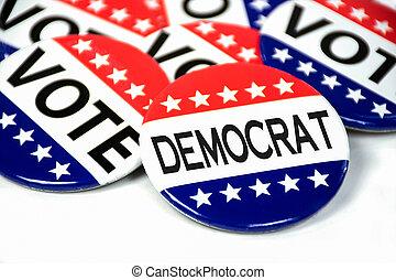 fiesta, botón, democrático, elección