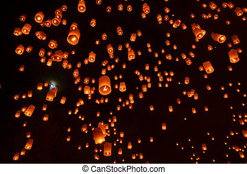 fiesta, budista, cielo, luces, linternas, fuego artificial