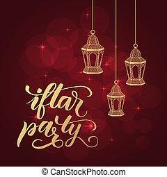 fiesta, caligrafía, cepillo, iftar
