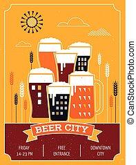 fiesta, cartel, cerveza, acontecimiento, ciudad
