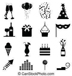 fiesta, celebración, iconos