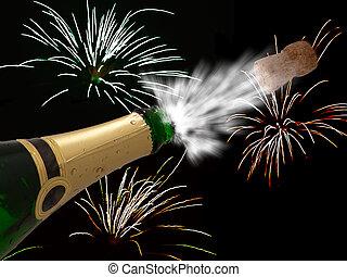 fiesta, champaña, -, celebración, fondo negro, año, nuevo, ...