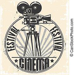 fiesta, cine, stamp.