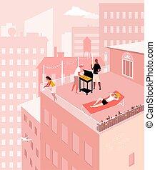fiesta, ciudad, tejado