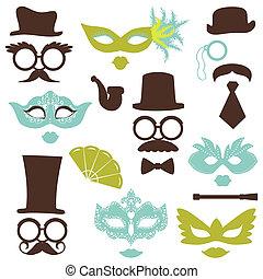 fiesta, conjunto, anteojos, labios, -, máscaras, vector, retro, foto, álbum de recortes, cabina, sombreros, diseño, bigotes