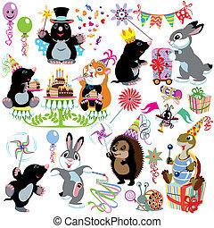 fiesta, conjunto, caricatura, cumpleaños