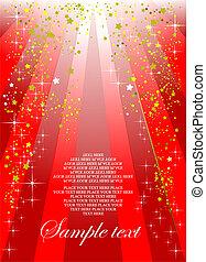 fiesta, cubierta, plano de fondo, folleto, feriado, o, rojo