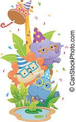 fiesta, cumpleaños, animales, safari
