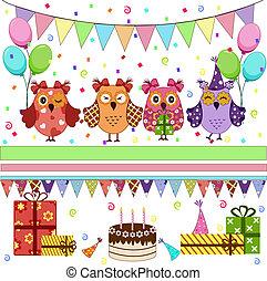fiesta, cumpleaños, conjunto, búhos