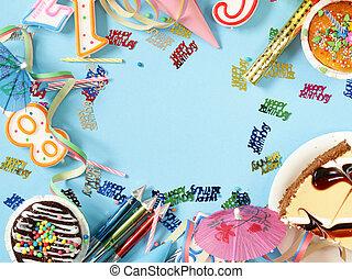 fiesta, cumpleaños, conjunto, festivo